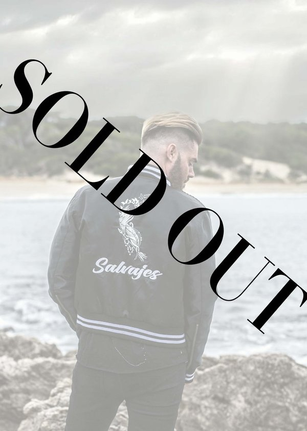 Black SALVAJES satin bomber Jacket