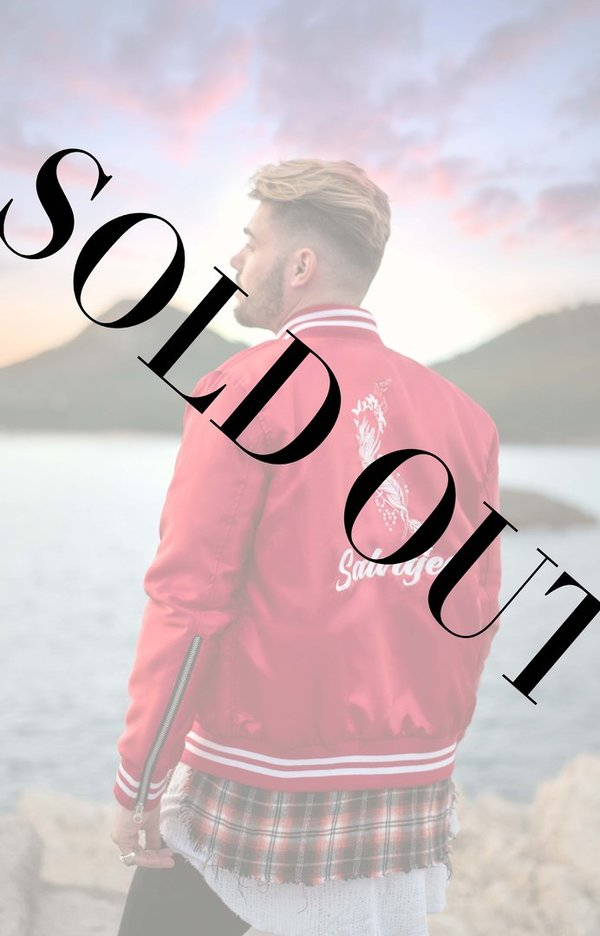 Red SALVAJES satin bomber jacket
